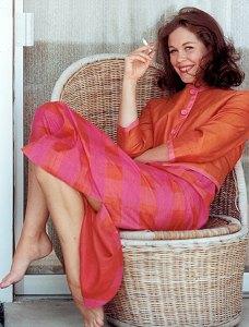 Liz in a wicker chair