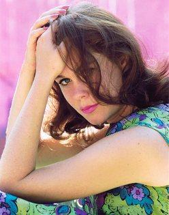 Liz with purple lipstick